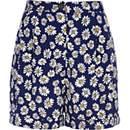 Blue daisy print high waisted shorts