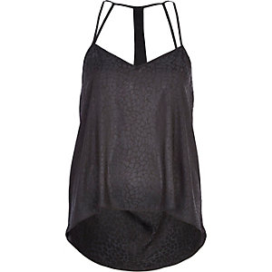 Black drape back cami top
