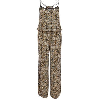 Bruine jumpsuit met etnische print en wijde pijpen