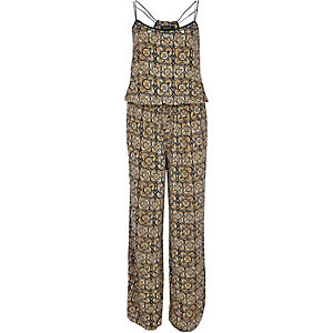Brown tribal print wide leg jumpsuit
