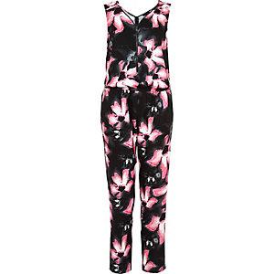 Black lily print zip front jumpsuit