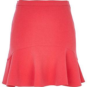 Coral flute hem mini skirt
