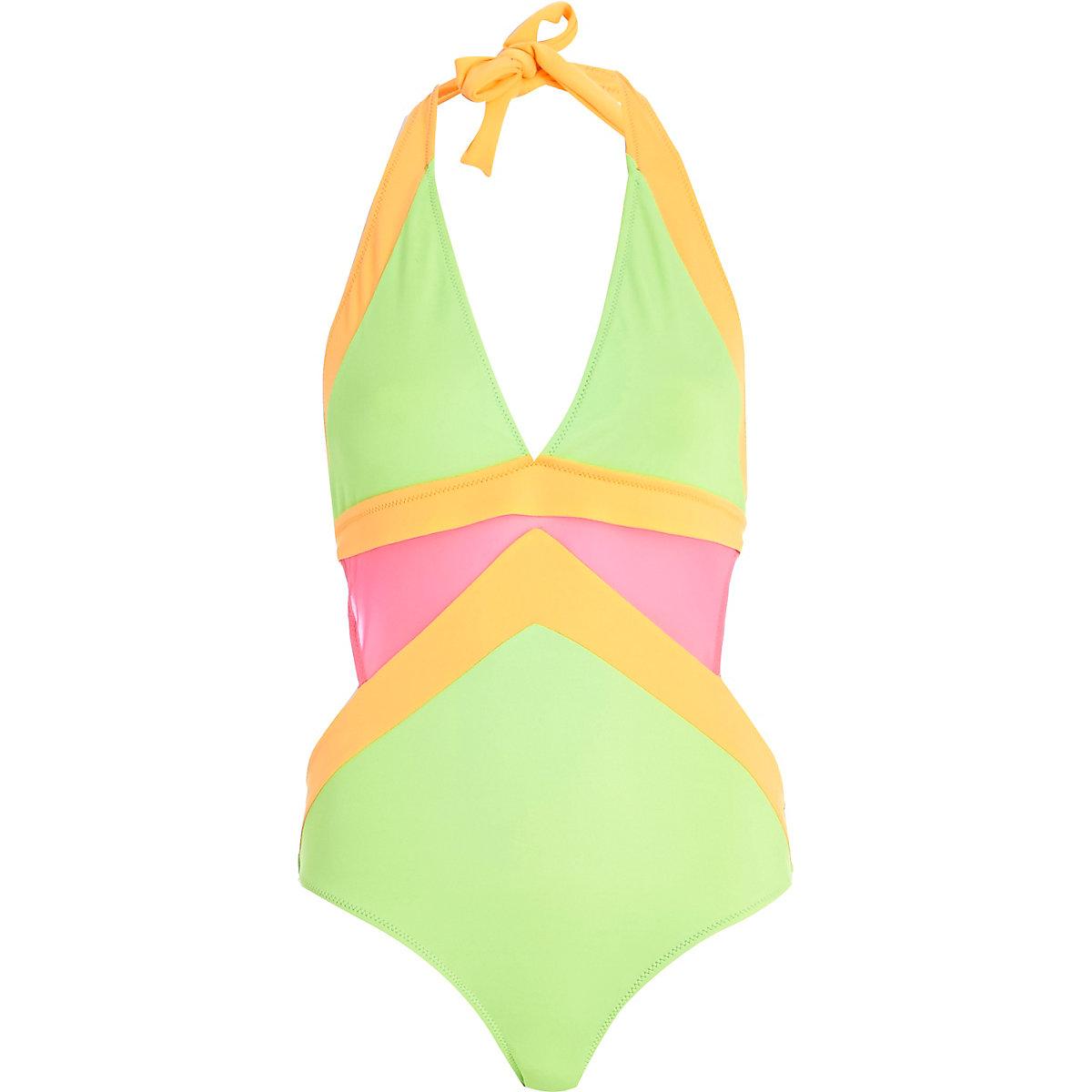 43aaad6c561 Green mesh cut out halterneck swimsuit - Swimsuits - Swimwear & Beachwear -  women