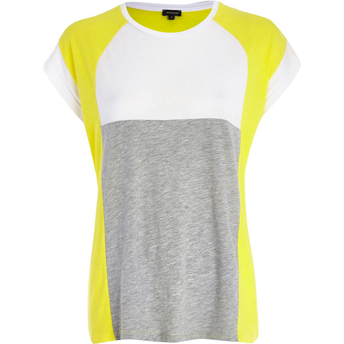 Yellow colour block t-shirt