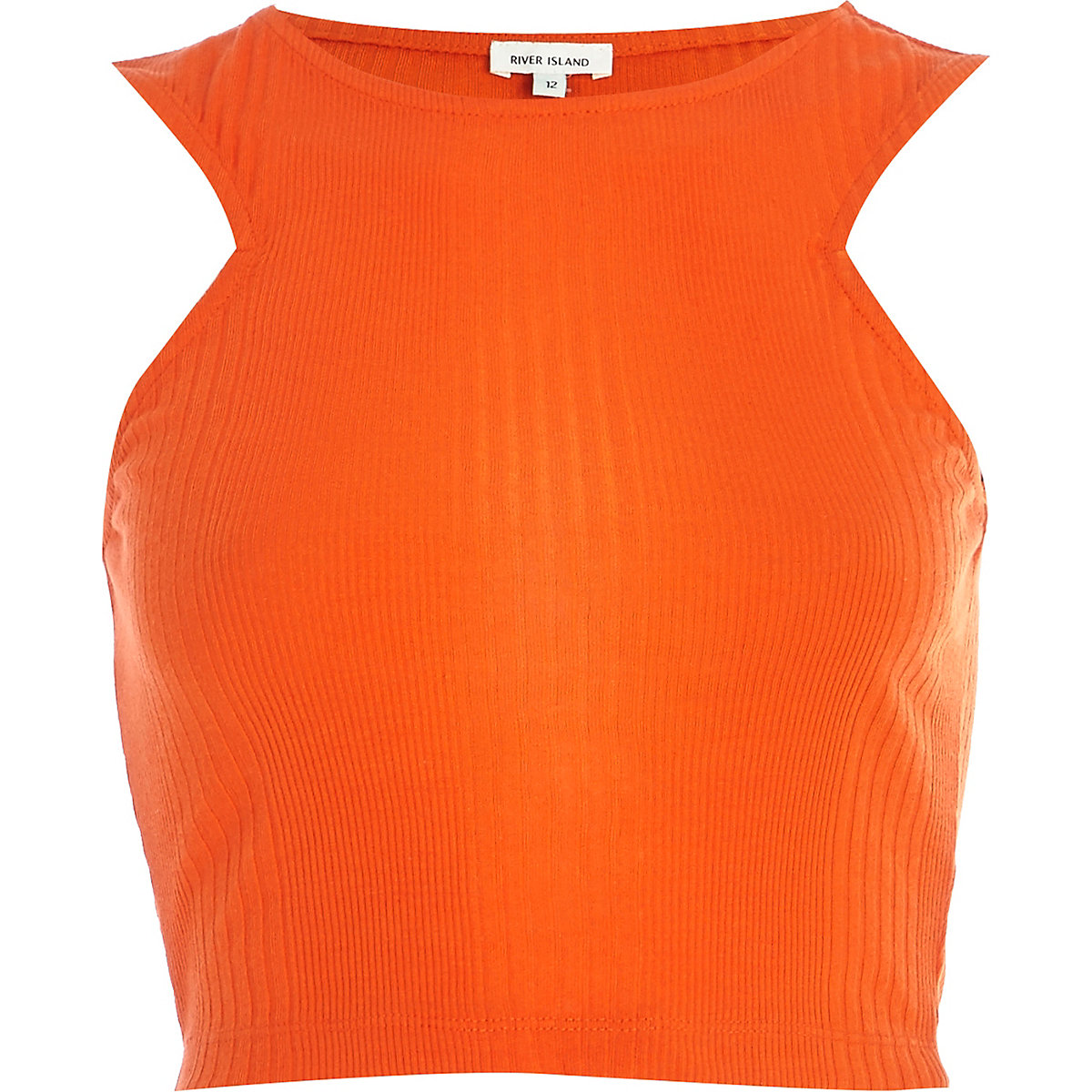 Bright orange ribbed racer front crop top