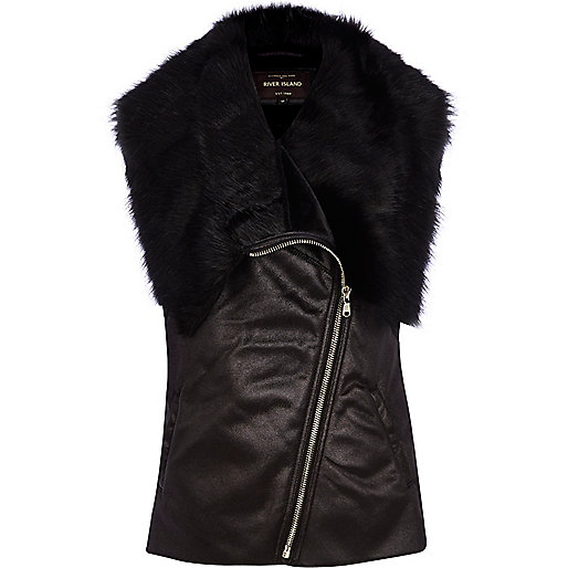 Black faux fur lined vest