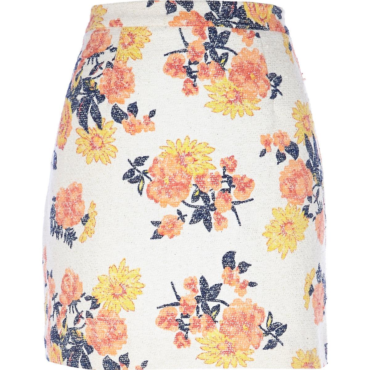 white floral printed skirt