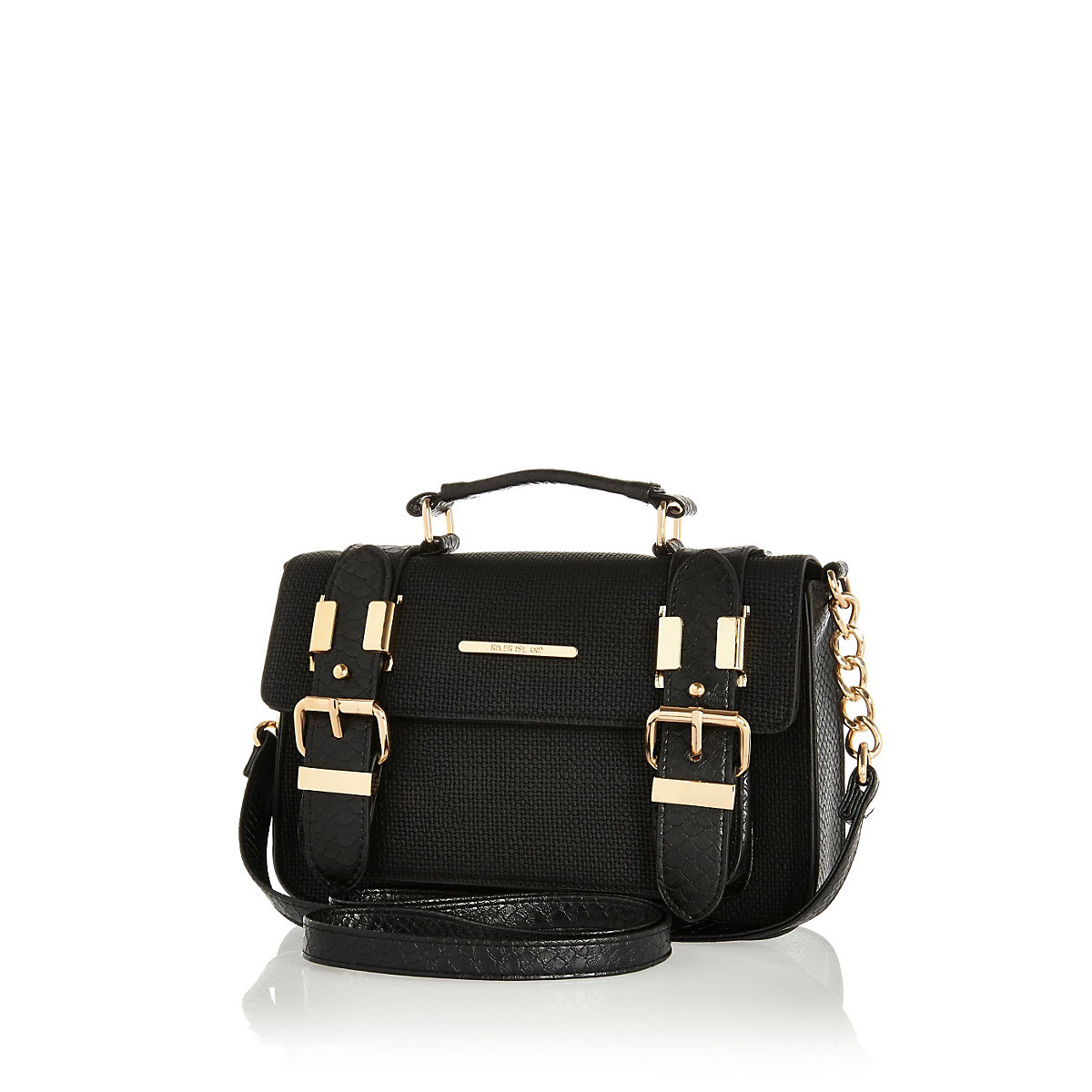 Black textured mini satchel