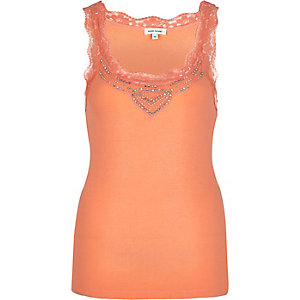 Coral embellished lace trim vest