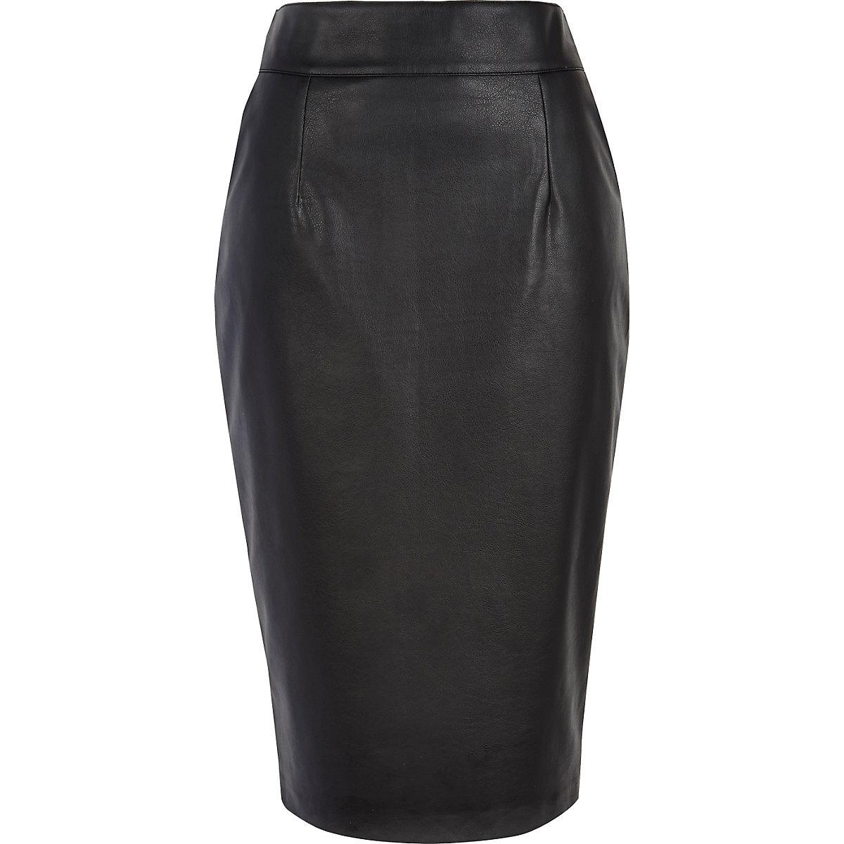 Black high waisted leather-look pencil skirt
