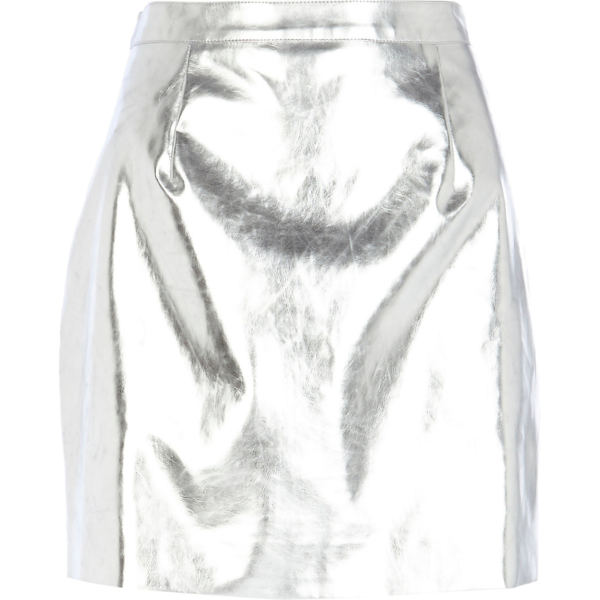 Silver metallic leather-look A-line skirt