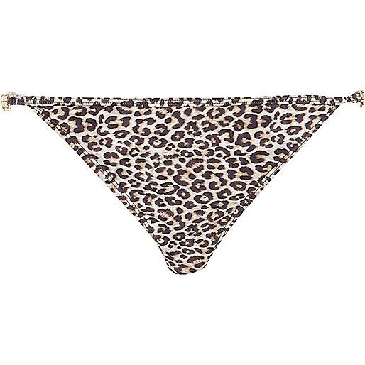 Brown leopard print jewel bikini bottoms