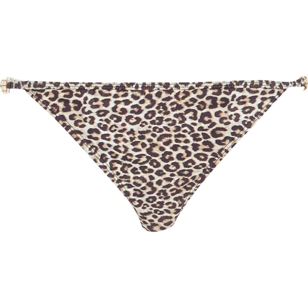 Brown leopard print jewel bikini bottoms