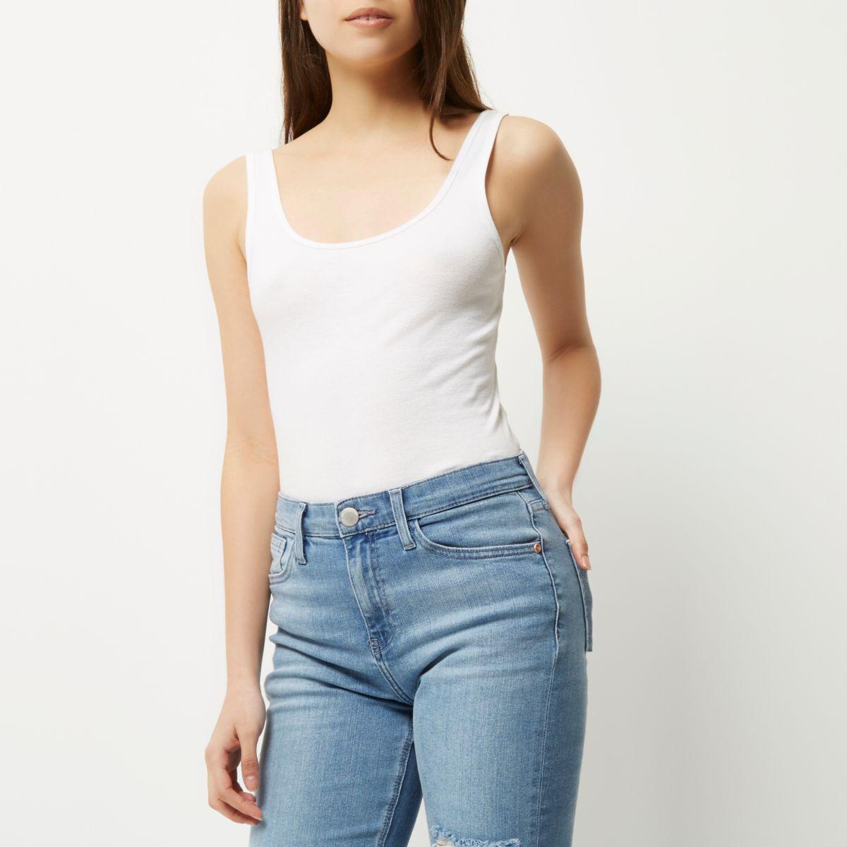 white scoop neck longline vest plain t shirts vests
