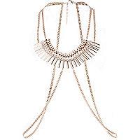 Gold tone rhinestone collar harness