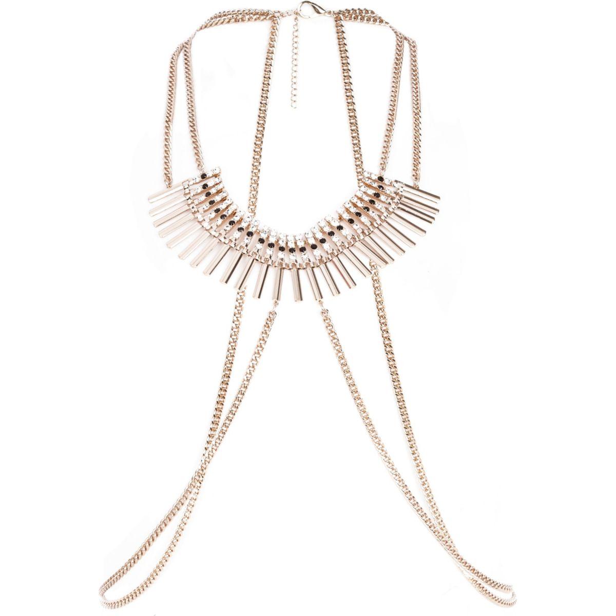 Gold tone diamante collar harness