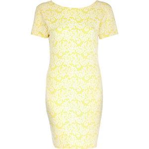 Light yellow jacquard bodycon dress