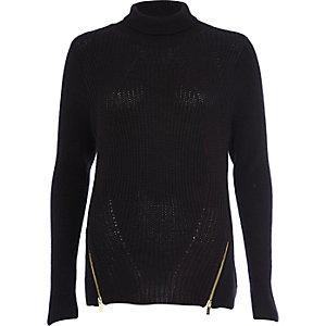 Black roll neck zip trim sweater