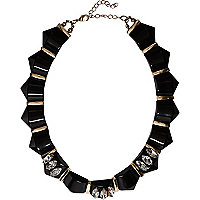Gold tone and black gemstone necklace
