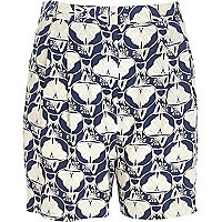Blue petal print retro high rise shorts