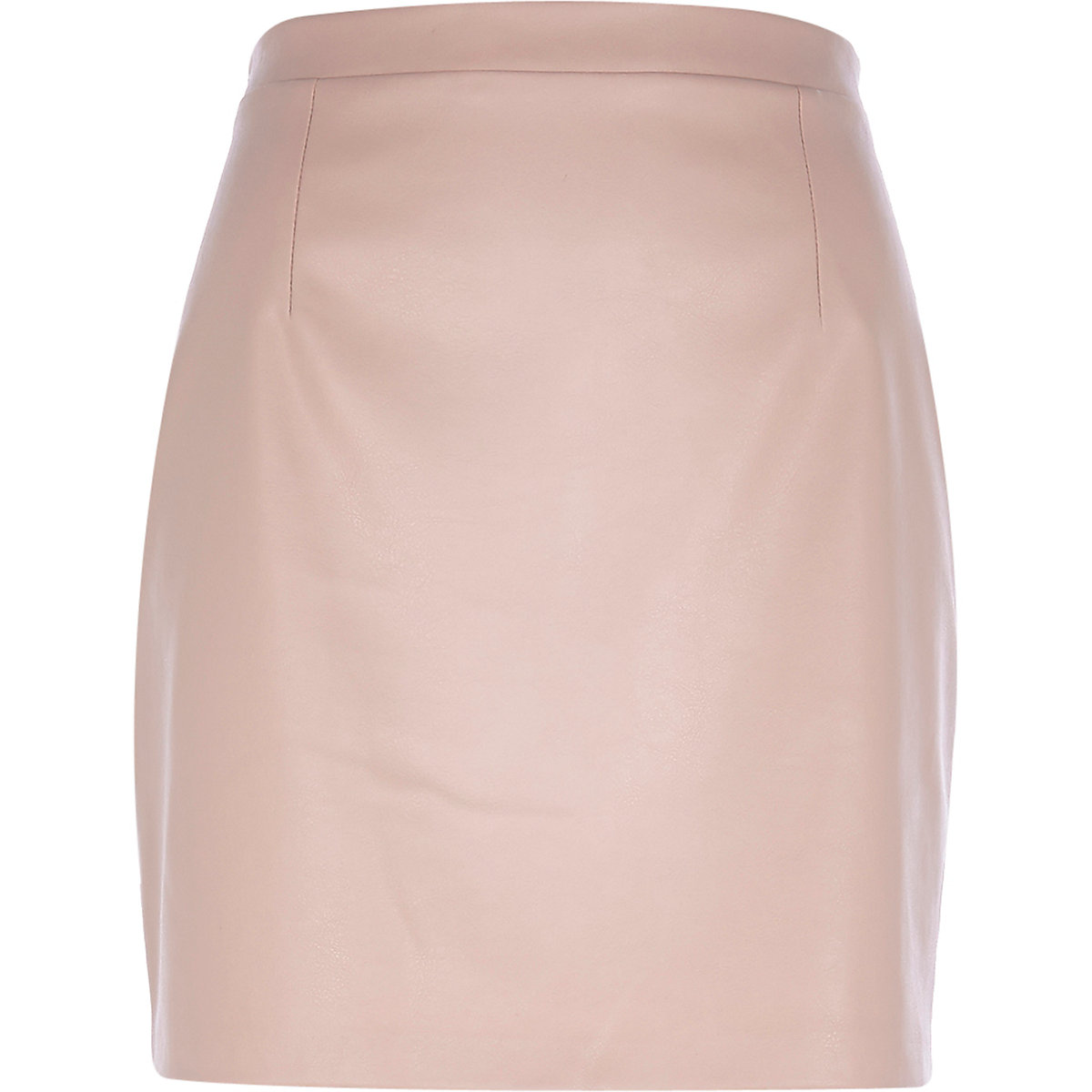 Light pink leather-look mini skirt