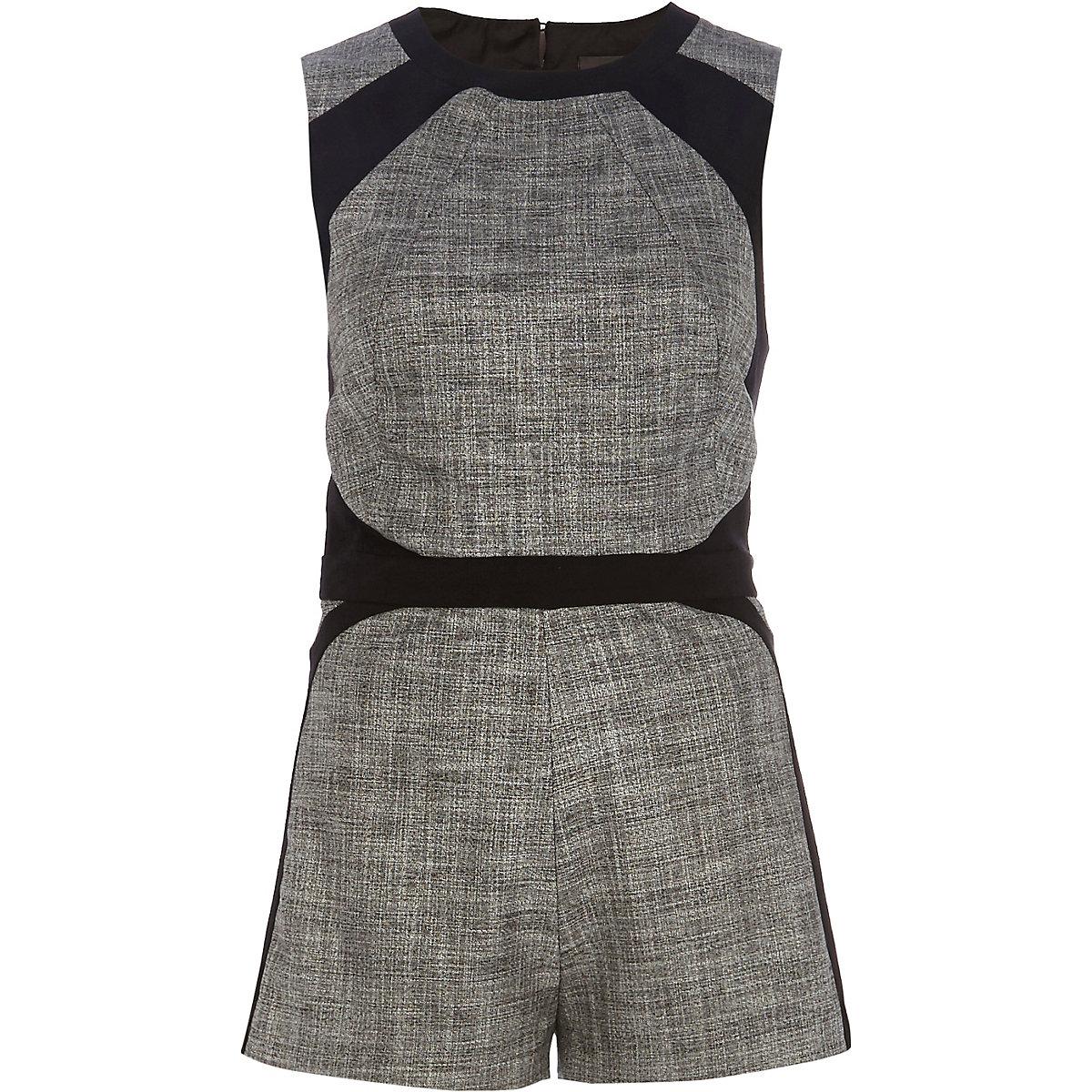 Grey color block smart Romper