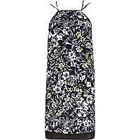 Robe style caraco noire à fleurs