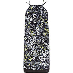 Black floral print cami slip dress