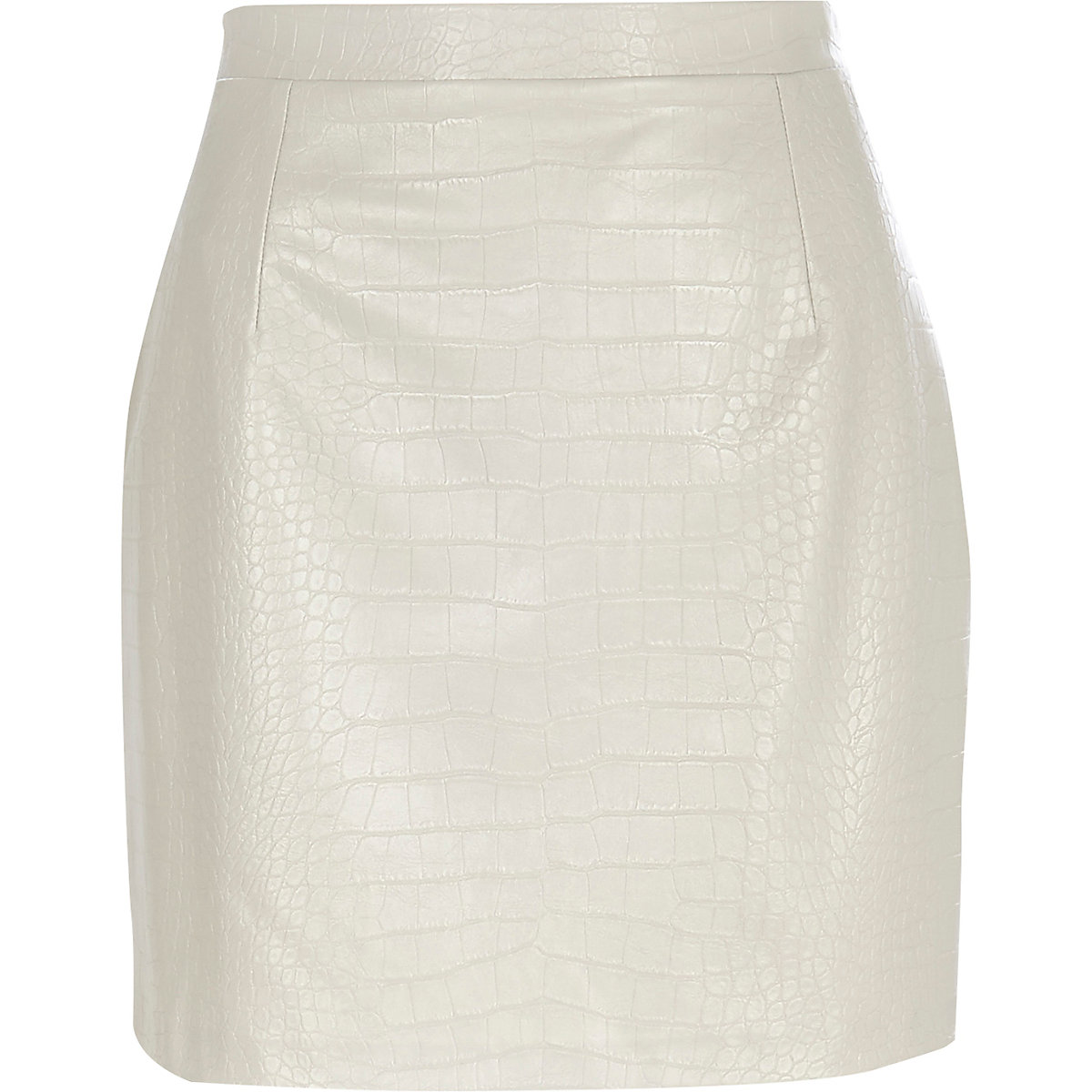 Grey mock croc leather-look mini skirt