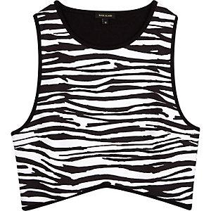 Black zebra print racer back crop top