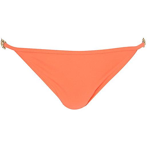 Orange jewel strap tie side bikini bottoms