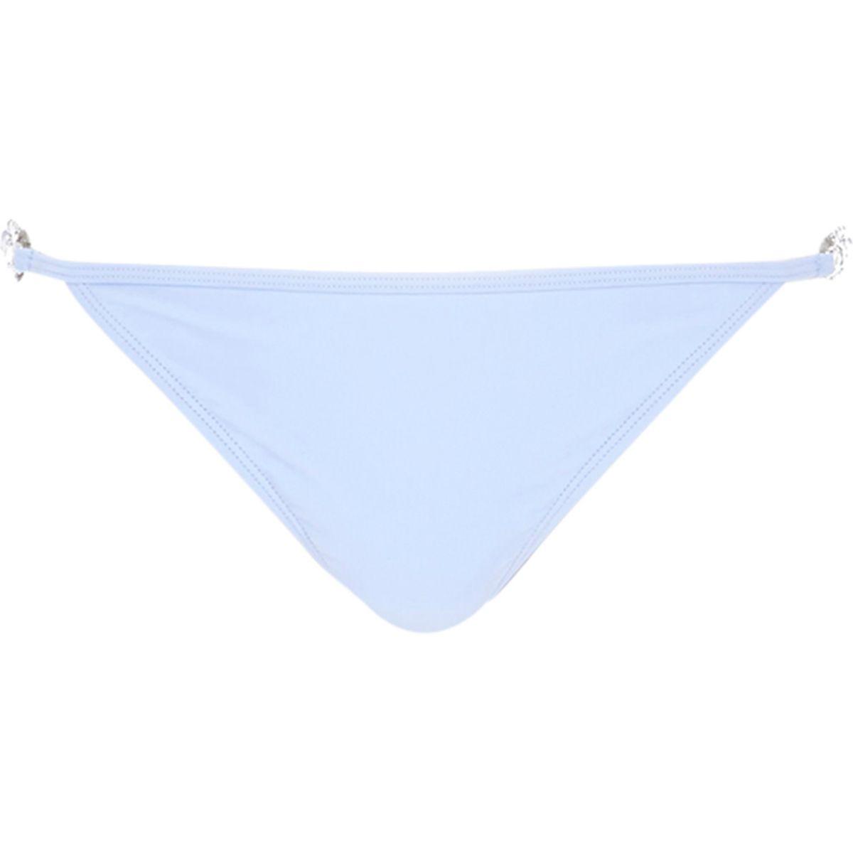Blue jewel strap side tie bikini bottoms