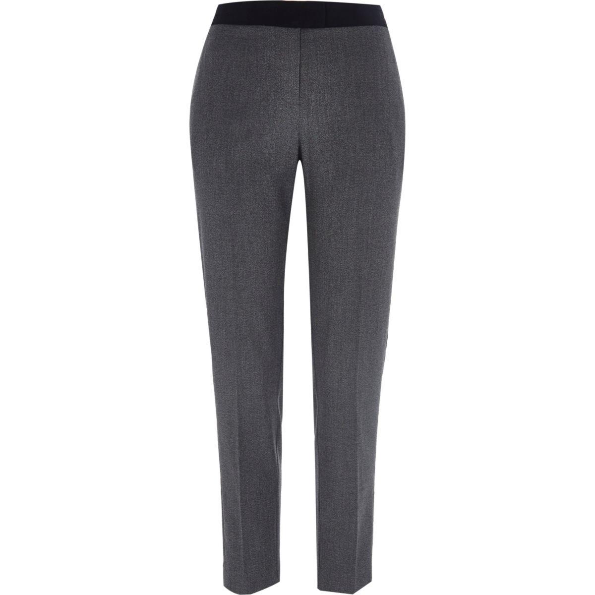 Graue schmale Hosen aus Twill