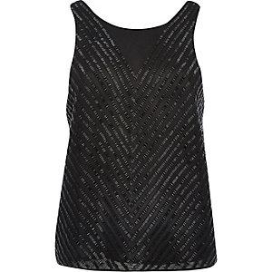 Black sleeveless embellished tank