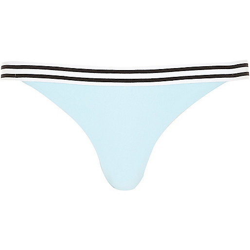 Light blue striped hem bikini bottoms