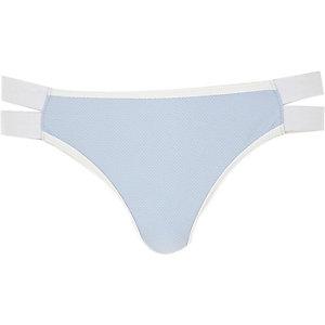 Light blue textured low rise bikini bottoms