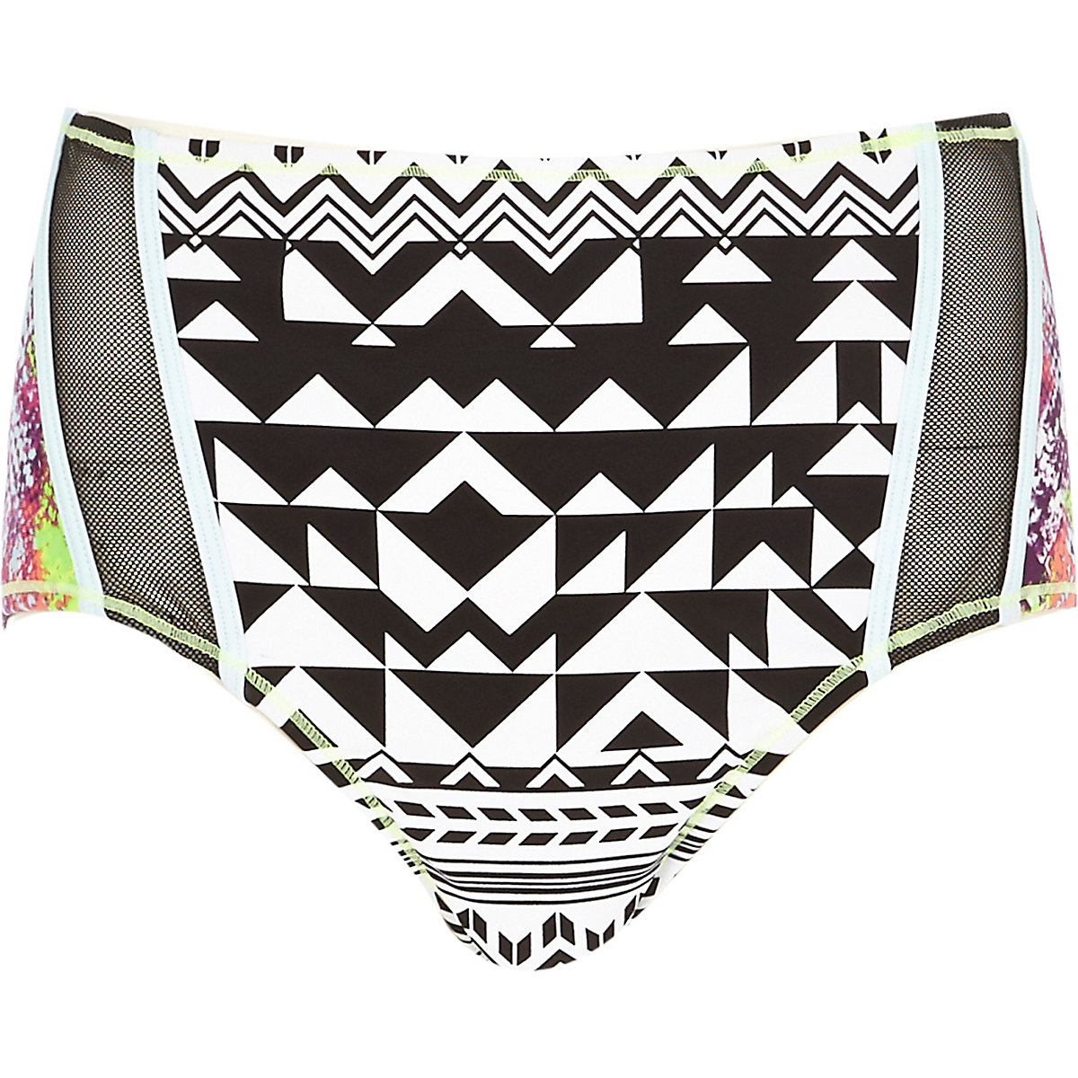 Black mixed-print high waisted bikini bottoms