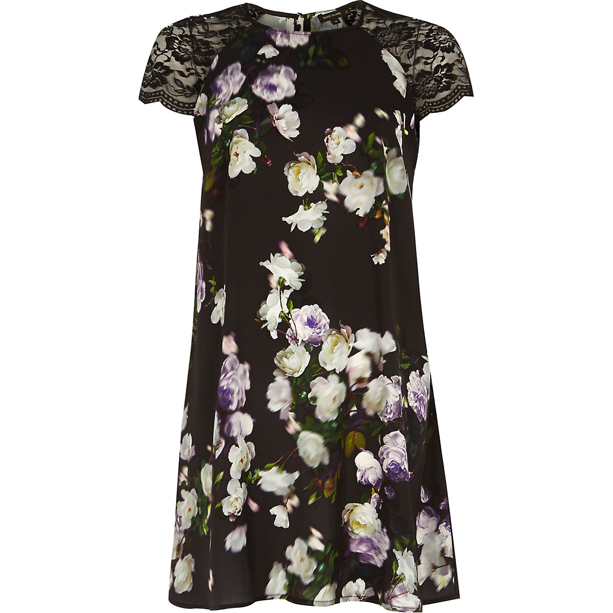 Black lace sleeve floral swing dress