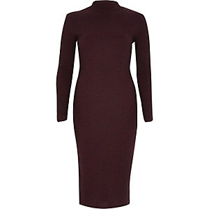 Red ribbed bodycon turtle neck dress