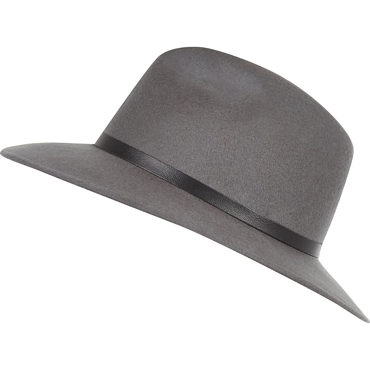 Chapeau fedora gris à galon en cuir synthétique