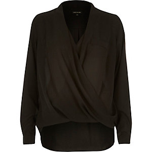 Black wrap front pocket blouse