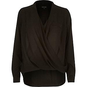 Black wrap front pocket blouse