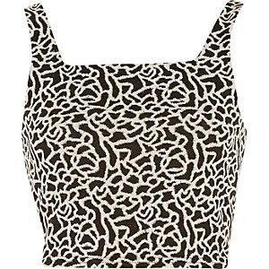 Zwart-wit jacquard korte topje met vierkante hals