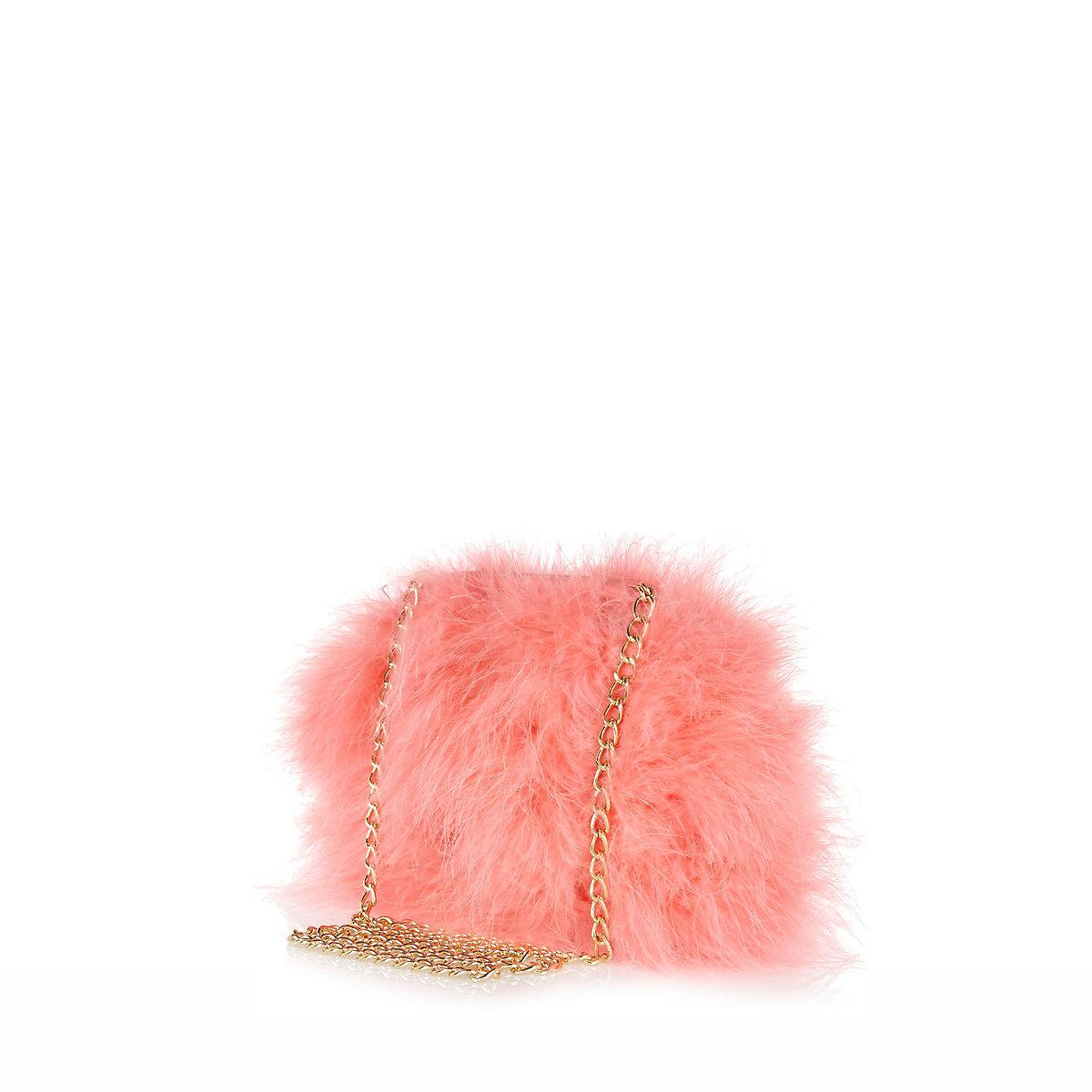 Pink fluffy cross body bag