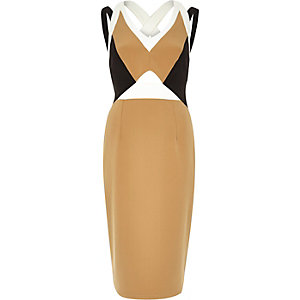 Beige woven column bodycon dress