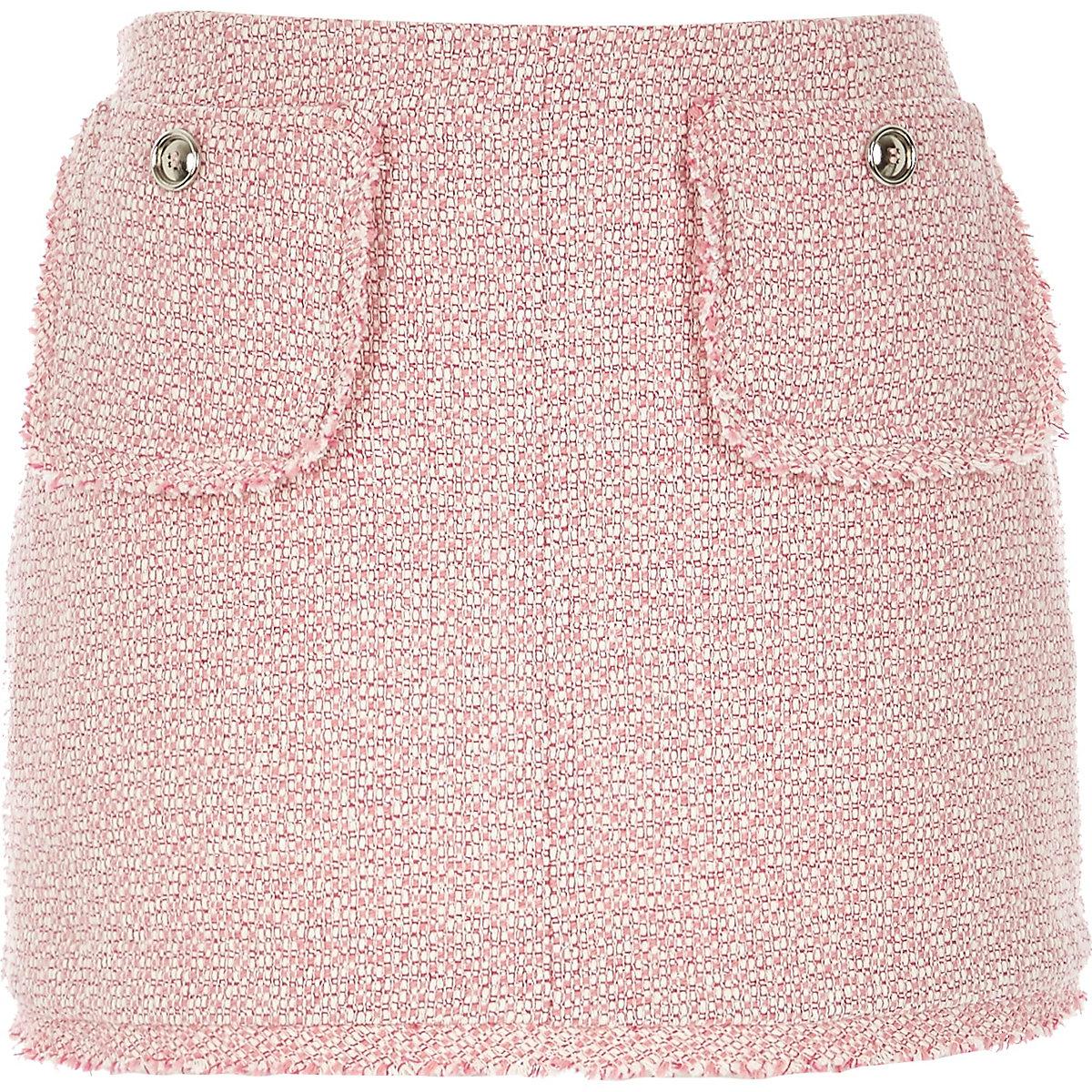 Pink boucle skirt