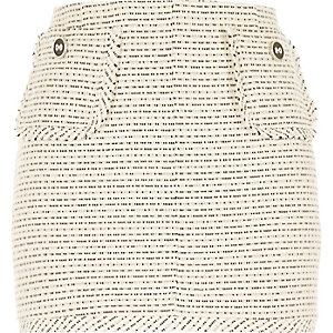 White woven boucle short skirt