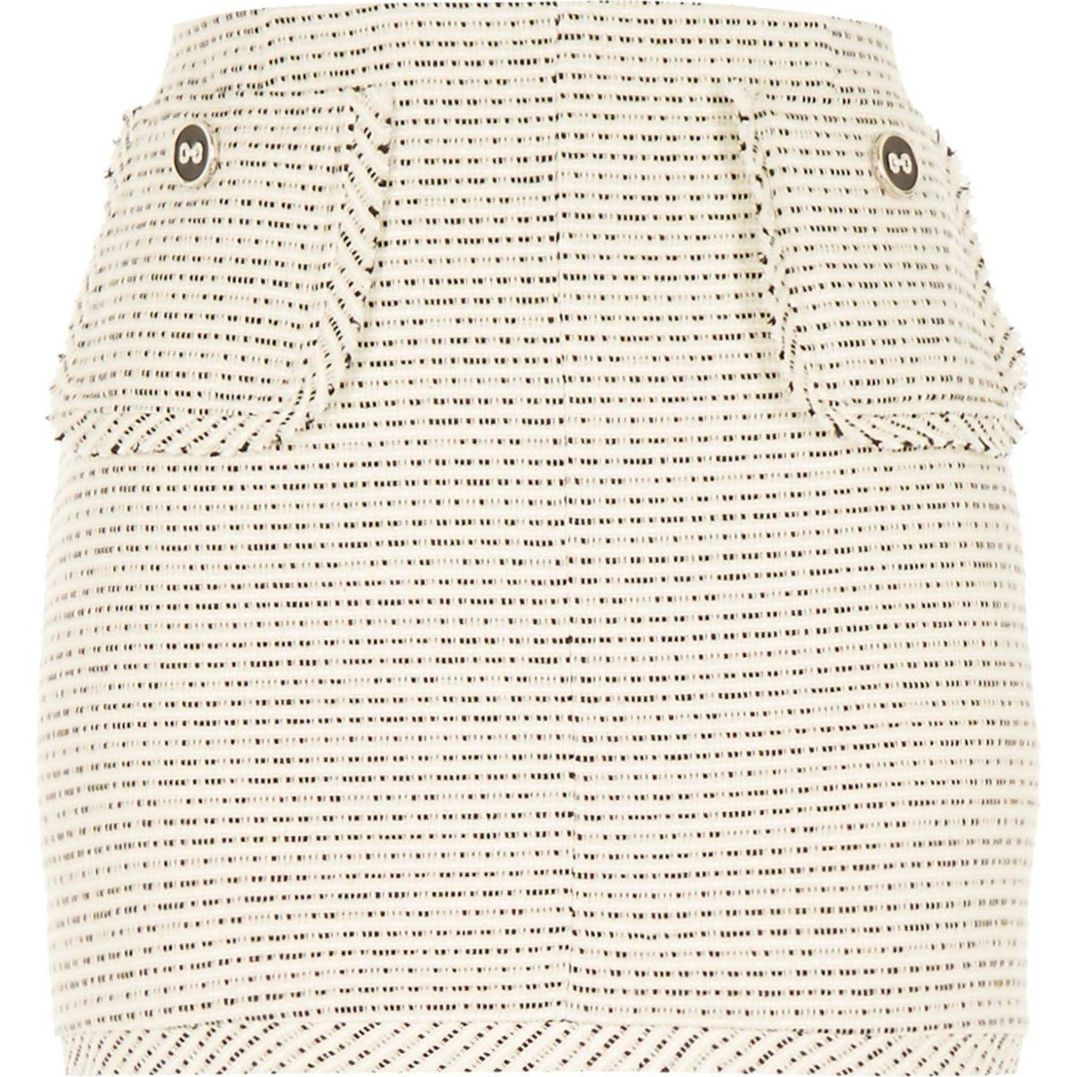 White woven boucle short skirt