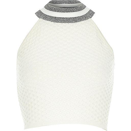 Cream contrast trim halter neck crop top
