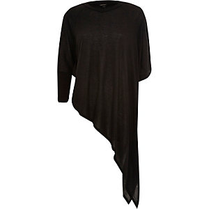 Black slouchy asymmetric knitted top